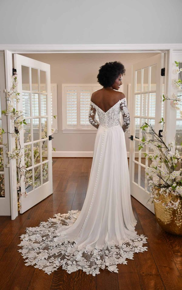 MODEST LONG-SLEEVE LACE WEDDING DRESS WITH STRAIGHT NECKLINE by Essense of Australia - Image 2