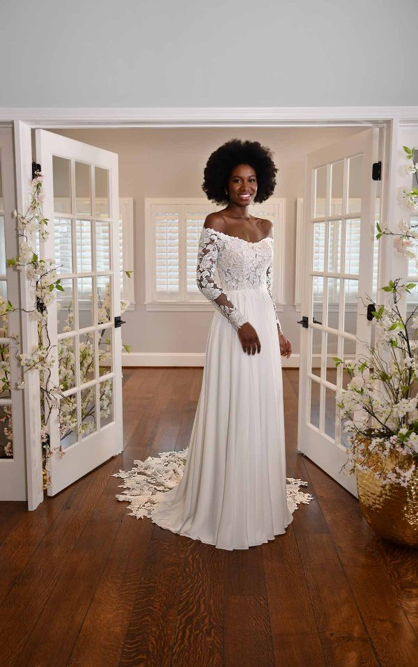 MODEST LONG-SLEEVE LACE WEDDING DRESS WITH STRAIGHT NECKLINE by Essense of Australia - Image 1
