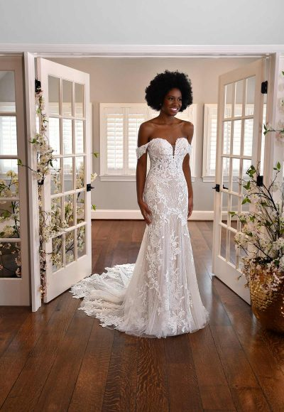OFF-THE-SHOULDER FLORAL LACE WEDDING DRESS WITH SWEETHEART NECKLINE by Essense of Australia