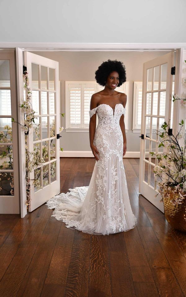 OFF-THE-SHOULDER FLORAL LACE WEDDING DRESS WITH SWEETHEART NECKLINE by Essense of Australia - Image 1