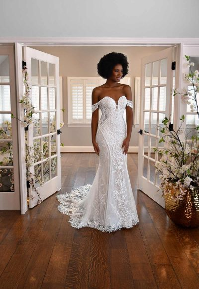 OFF-THE-SHOULDER SWEETHEART WEDDING DRESS WITH LACE DETAILS by Essense of Australia