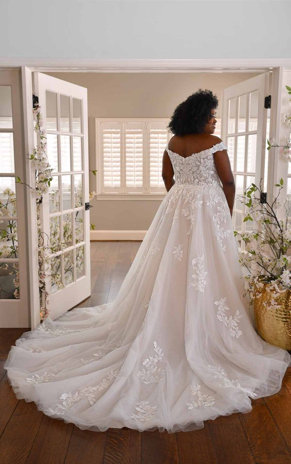 OFF-THE-SHOULDER WEDDING GOWN WITH LACE APPLIQUES by Essense of Australia - Image 2