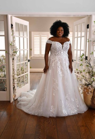 OFF-THE-SHOULDER WEDDING GOWN WITH LACE APPLIQUES by Essense of Australia