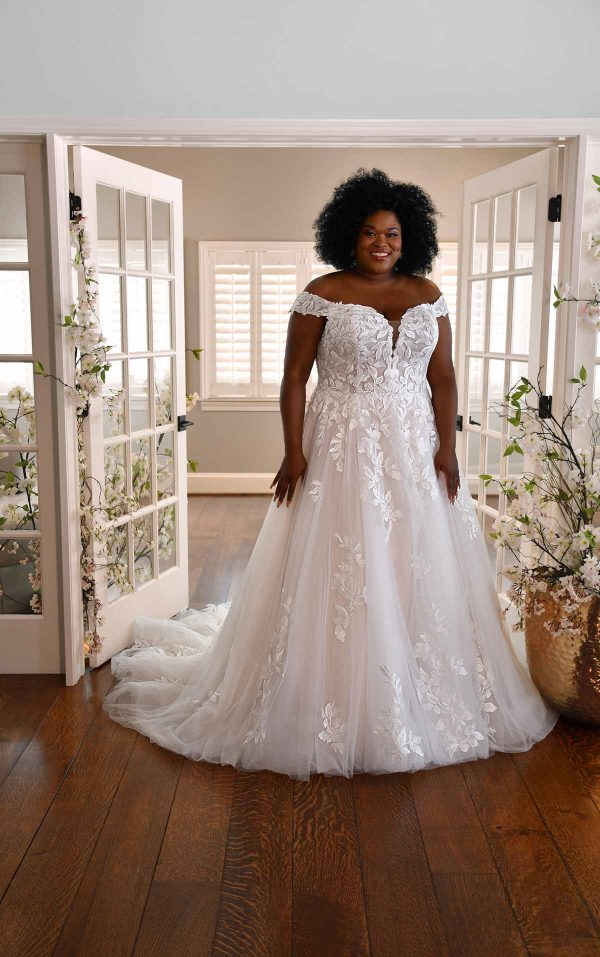 OFF-THE-SHOULDER WEDDING GOWN WITH LACE APPLIQUES by Essense of Australia - Image 1