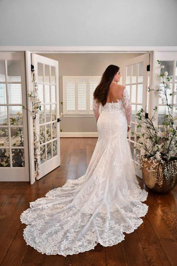 Plus Size Fit And Flare Wedding Dress With Long Sleeves by Essense of Australia - Image 2