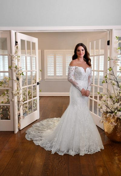 Plus Size Fit And Flare Wedding Dress With Long Sleeves by Essense of Australia