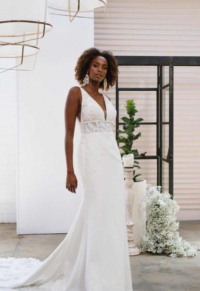 SIMPLE V-NECKLINE WEDDING DRESS WITH LACE APPLIQUE-TRAIN by Essense of Australia