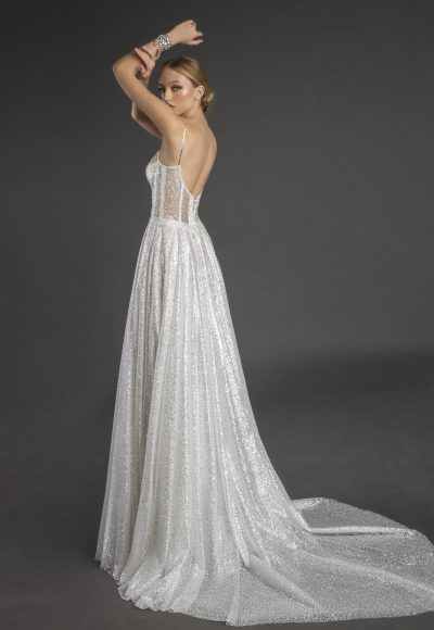 All Over Glitter Sweetheart Neckline A-line Wedding Dress With Spaghetti Straps by Love by Pnina Tornai
