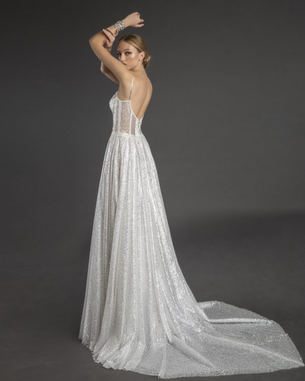 All Over Glitter Sweetheart Neckline A-line Wedding Dress With Spaghetti Straps by Love by Pnina Tornai - Image 1