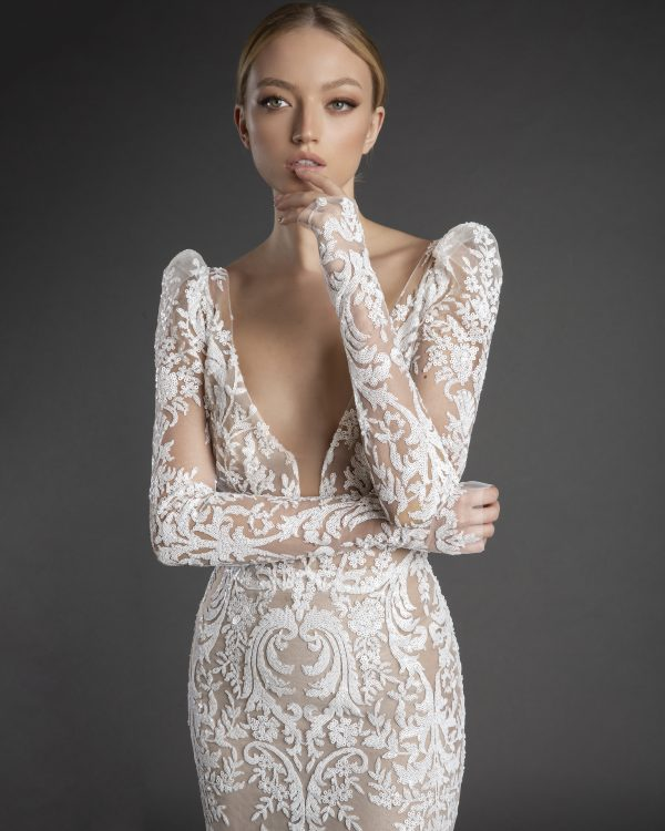 All Over Lace Long Puff Sleeve Sheath Wedding Dress With Plunging V Neckline by Love by Pnina Tornai - Image 2