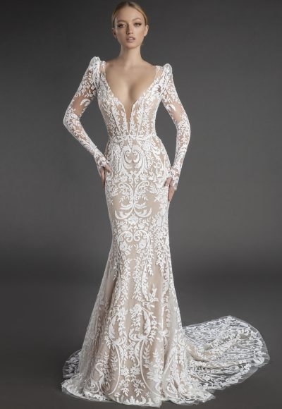 All Over Lace Long Puff Sleeve Sheath Wedding Dress With Plunging V Neckline by Love by Pnina Tornai