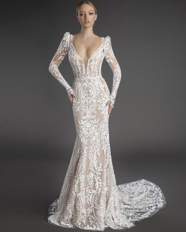 All Over Lace Long Puff Sleeve Sheath Wedding Dress With Plunging V Neckline by Love by Pnina Tornai - Image 1