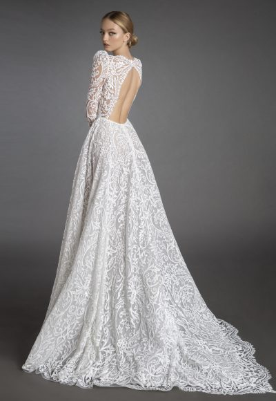 All Over Lace Long Sleeve A-line Wedding Dress With Puff Sleeves by Love by Pnina Tornai