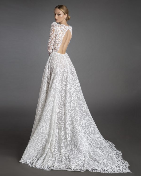 All Over Lace Long Sleeve A-line Wedding Dress With Puff Sleeves by Love by Pnina Tornai - Image 1