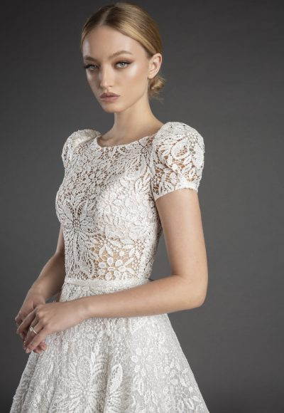 High Neck Short Puff Sleeve All Over Lace A-line Wedding Dress by Love by Pnina Tornai