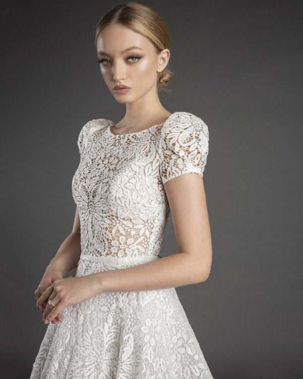 High Neck Short Puff Sleeve All Over Lace A-line Wedding Dress by Love by Pnina Tornai - Image 1