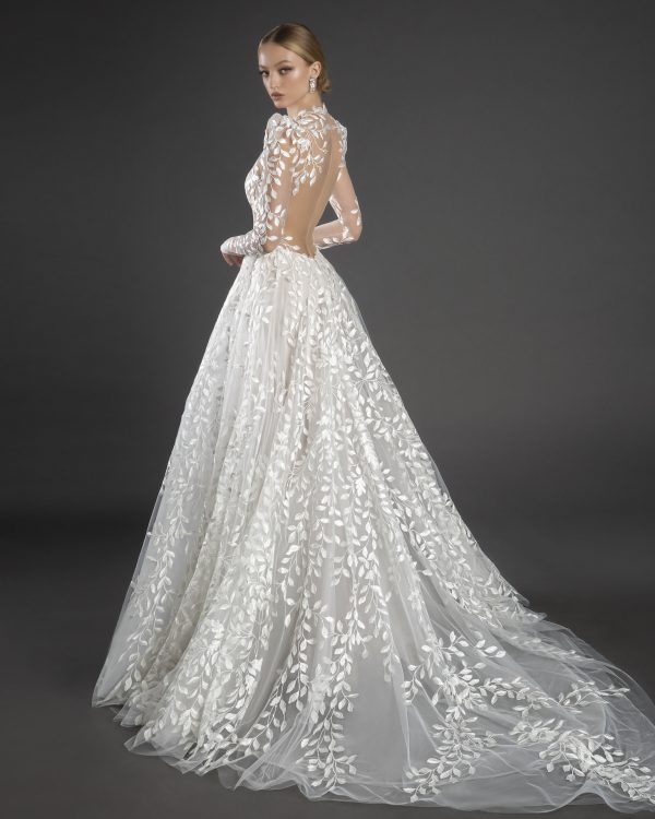 Illusion All Over Lace Puff Long Sleeve A-line Wedding Dress by Love by Pnina Tornai - Image 2