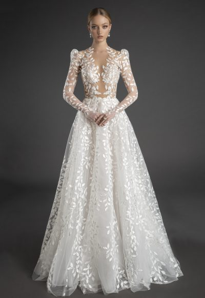 Illusion All Over Lace Puff Long Sleeve A-line Wedding Dress by Love by Pnina Tornai