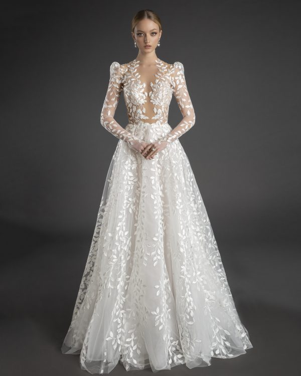 Illusion All Over Lace Puff Long Sleeve A-line Wedding Dress by Love by Pnina Tornai - Image 1