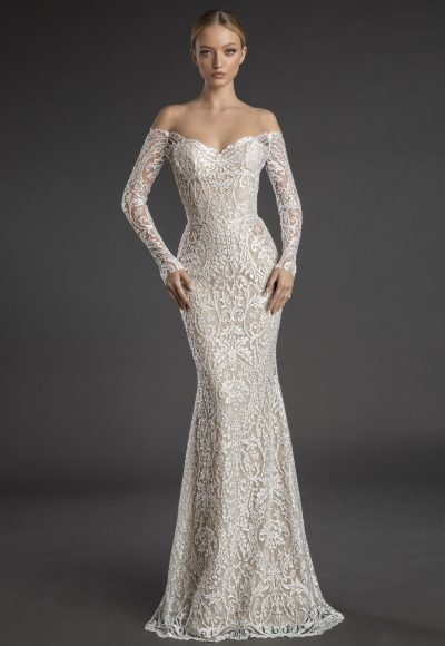 Off The Shoulder Embroidered Lace Long Sleeve Sheath Wedding Dress by Love by Pnina Tornai