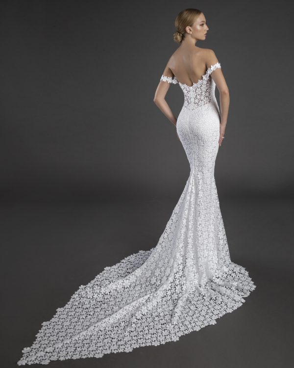 Off The Shoulder Sweetheart Neckline Floral Lace Sheath Wedding Dress by Love by Pnina Tornai - Image 2