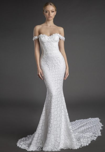 Off The Shoulder Sweetheart Neckline Floral Lace Sheath Wedding Dress by Love by Pnina Tornai