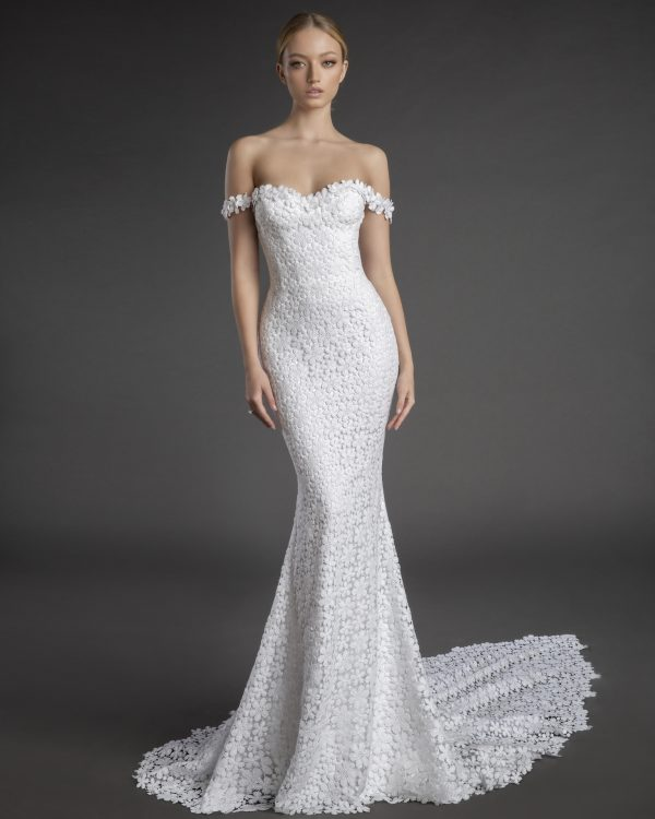 Off The Shoulder Sweetheart Neckline Floral Lace Sheath Wedding Dress by Love by Pnina Tornai - Image 1
