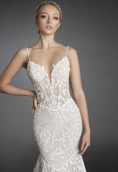 Sequin Embroidered Lace Spaghetti Strap Fit And Flare Wedding Dress by Love by Pnina Tornai