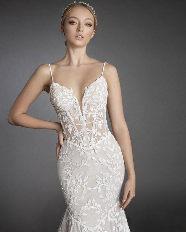 Sequin Embroidered Lace Spaghetti Strap Fit And Flare Wedding Dress by Love by Pnina Tornai - Image 1