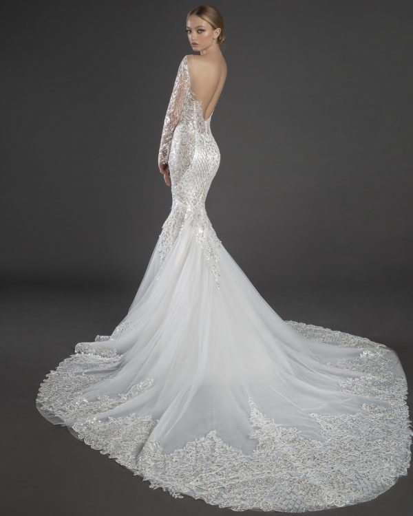 Sequin Lace Long Sleeve Mermaid Wedding Dress With Tulle Skirt by Love by Pnina Tornai - Image 2