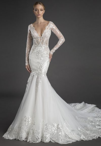 Sequin Lace Long Sleeve Mermaid Wedding Dress With Tulle Skirt by Love by Pnina Tornai