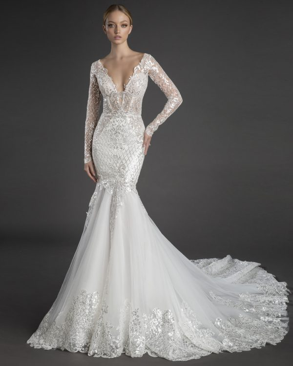 Sequin Lace Long Sleeve Mermaid Wedding Dress With Tulle Skirt by Love by Pnina Tornai - Image 1