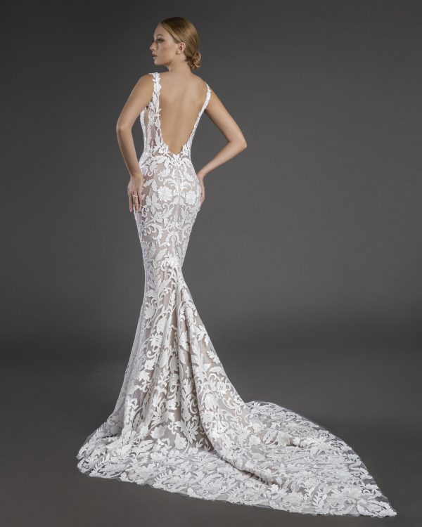 Sleeveless Plunging V-neckline Lace Sheath Wedding Dress by Love by Pnina Tornai - Image 2