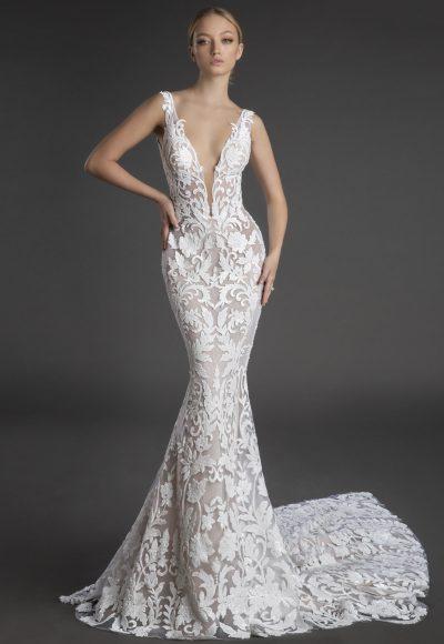 Sleeveless Plunging V-neckline Lace Sheath Wedding Dress by Love by Pnina Tornai