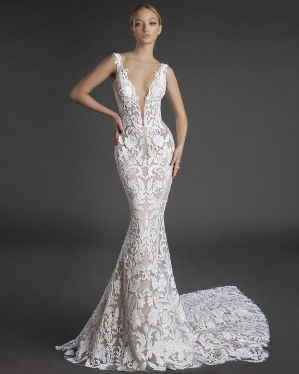 Sleeveless Plunging V-neckline Lace Sheath Wedding Dress by Love by Pnina Tornai - Image 1
