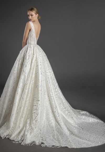 Sleeveless Square Neckline Glitter A-line Wedding Dress With Bow by Love by Pnina Tornai