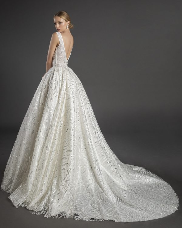 Sleeveless Square Neckline Glitter A-line Wedding Dress With Bow by Love by Pnina Tornai - Image 1
