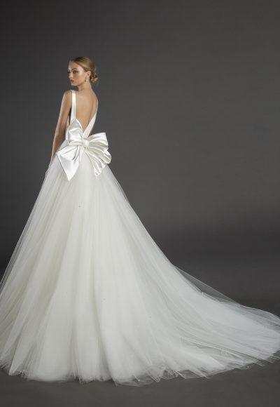 Sleeveless V-neckline A-line Wedding Dress Eith Satin Bodice, Tulle Skirt And Bow by Love by Pnina Tornai