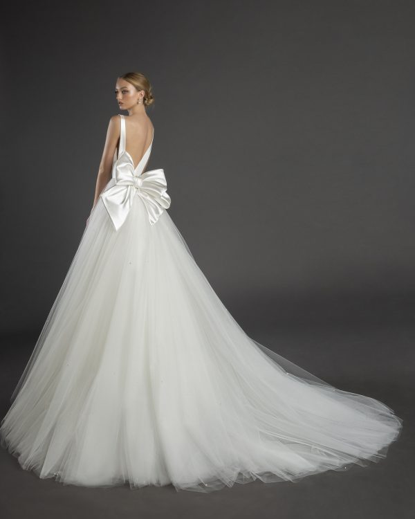 Sleeveless V-neckline A-line Wedding Dress Eith Satin Bodice, Tulle Skirt And Bow by Love by Pnina Tornai - Image 1