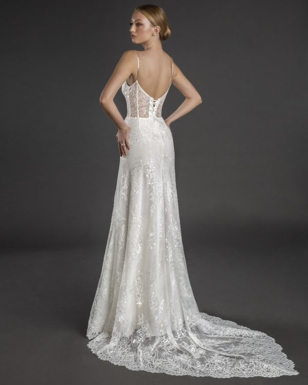 Spaghetti Strap Sweetheart Neckline Fit And Flare Wedding Dress With Crystals by Love by Pnina Tornai - Image 2