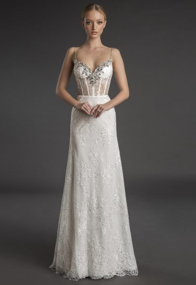 Spaghetti Strap Sweetheart Neckline Fit And Flare Wedding Dress With Crystals by Love by Pnina Tornai