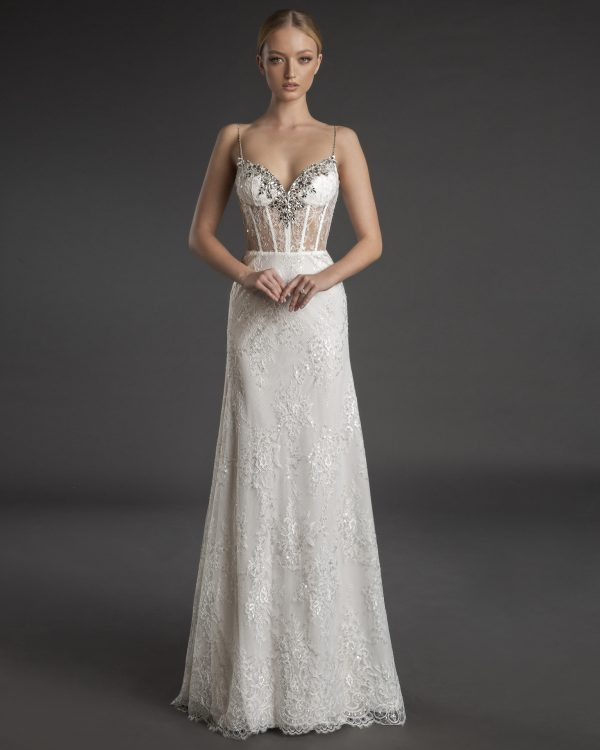 Spaghetti Strap Sweetheart Neckline Fit And Flare Wedding Dress With Crystals by Love by Pnina Tornai - Image 1