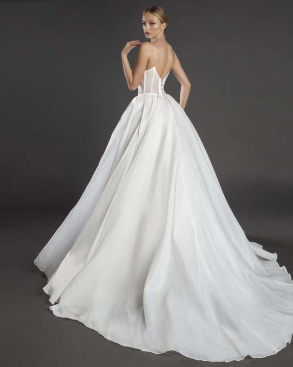 Spaghetti Strap Sweetheart Necklline A-line Wedding Dress Weith Pleated Skirt by Love by Pnina Tornai - Image 2