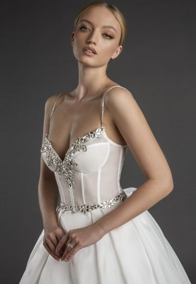Spaghetti Strap Sweetheart Necklline A-line Wedding Dress Weith Pleated Skirt by Love by Pnina Tornai