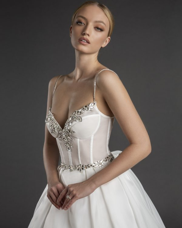 Spaghetti Strap Sweetheart Necklline A-line Wedding Dress Weith Pleated Skirt by Love by Pnina Tornai - Image 1