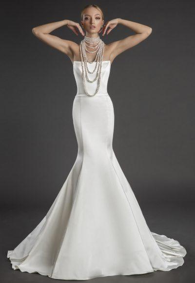 Strapless Straight Neckline Stretch Satin Mermaid Wedding Dress by Love by Pnina Tornai