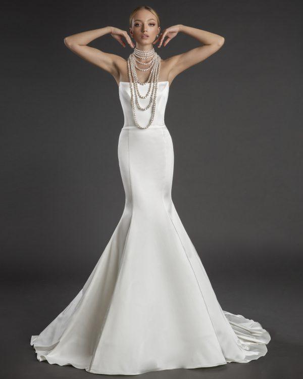 Strapless Straight Neckline Stretch Satin Mermaid Wedding Dress by Love by Pnina Tornai - Image 1