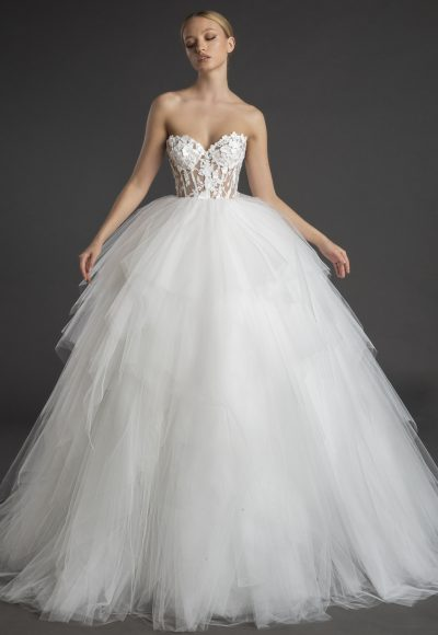 Strapless Sweetheart Neckline Ball Gown With Layered Tulle Skirt by Love by Pnina Tornai