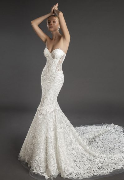 Strapless Sweetheart Neckline Lace Mermaid Wedding Dress by Love by Pnina Tornai