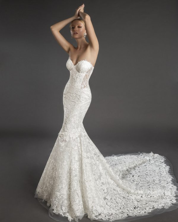 Strapless Sweetheart Neckline Lace Mermaid Wedding Dress by Love by Pnina Tornai - Image 1